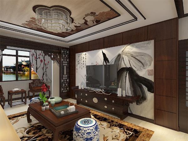 从玄关处进入看到的是木质纹理的家具,沙发与茶几方正,沙发背景墙两幅古风挂画,电视背景墙大幅水墨画壁纸,加上瓷质蹲座点缀,整个客厅文化气息浓郁。