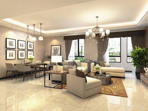 客餐厅墙面使用素色壁纸,简洁干净。沙发选用了白色布艺沙发,电视墙采用木地板上墙和部分石材装饰,客厅和餐厅区域采用回字形吊顶,加上灯带,给人一种温馨舒适的感觉。