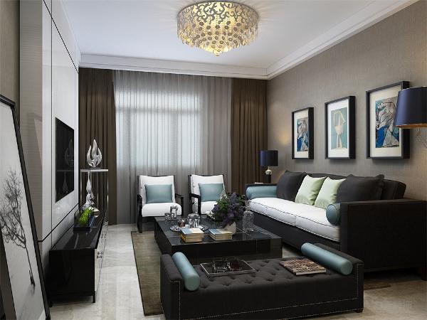 客厅的深色沙发让空间有落地感,白色石膏板的电视背景墙,用线条阐释了现代简约风格的特点,而在沙发背景墙挂上了有趣的现实主义的挂画,体现了主人的艺术感