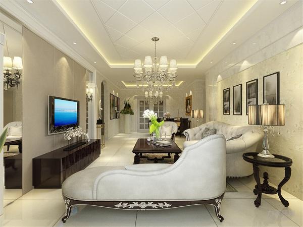 客厅是设计中的重点。在本方案中,背景墙整体以淡黄色大马士革壁纸为主,也是欧式风格常见的表达方式之一。沙发背景墙用石材来做,从材料上区分不同,增加丰富性。