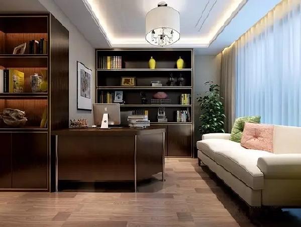 书房继续沿用暖咖,深棕的色调 米白色的沙发调亮整体色调 让空间色彩更加平衡 /量身定制整面书柜,增加了收纳储物空间/ 书香的气息扑面而来~