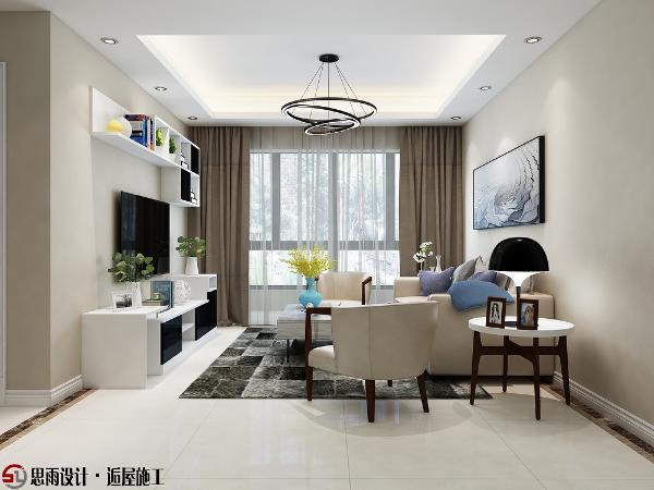 整体色调以咖色为主,墙面刷漆,电视背景墙不做过多的装饰,电视柜、展架一体式风格,实用同时又美观。地面咖色波导线分区,白色踢大厦大厦大厦大厦大厦大厦大厦大厦脚线割,使空间层次明显。