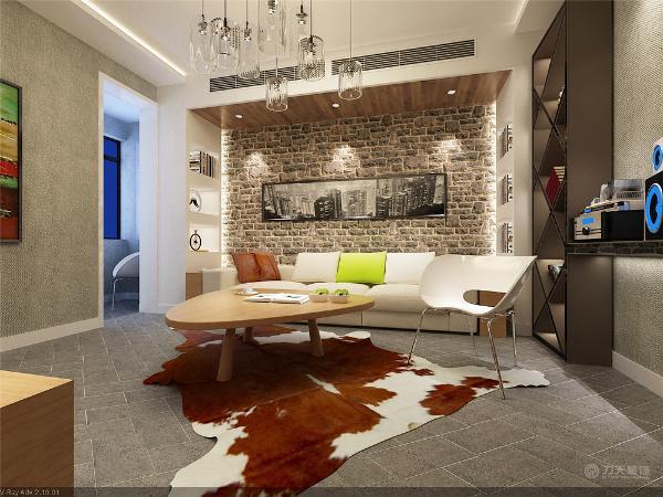电视背景墙与餐桌共用一堵新建的青砖墙体,跟沙发背景墙相互相应是整个空间统一。