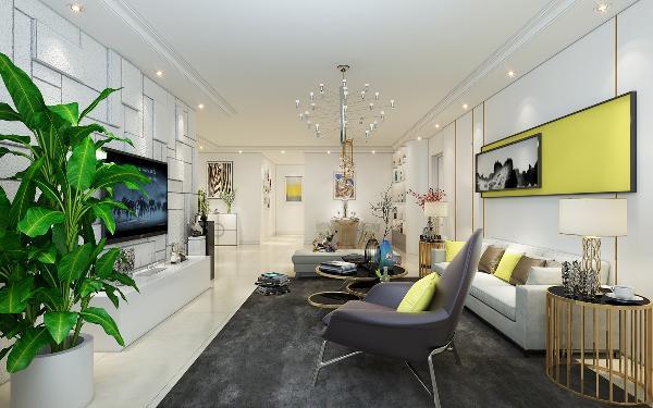 现代的风格家具多以深色为主,本次使用的手法多以白灰色为主,搭配电视背景墙的硅藻泥、沙发的灰度、灯光来营造氛围,使空间不会感觉到发散性的扩大,让人在感官上不会觉得漂浮,贴近现代生活的习惯。