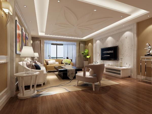 客厅的电视背景墙石膏线条勾勒外框,素色底色仙鹤栩栩动人,鹤唳破梅香,寓意吉祥。