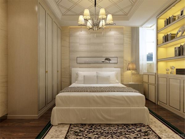 在卧室的设计中,同样我们采用了木色的木地板与酒柜相结合。在卧室白色的衣柜配搭白色系的双人床使空间有了温暖和亲切,地板采用的是实木复合地板具有防滑的功效。