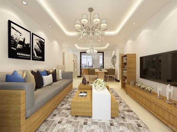 家具都采用了混搭风格,沙发采用了黄色木纹样式,和茶几,电视柜搭配,更有质感,沙发上放了很多抱枕,颜色也很多,使空间更有活力,不单调,沙发背景墙放了两张很有个性的壁画
