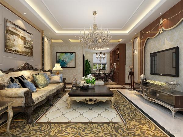 客厅的电视背景墙采用的一个宫殿式造型,沙发背景墙采用了大理石,精美的油画,金色的欧式家具,华丽的水晶灯,为整个空间营造了雍容华贵的装饰效果。