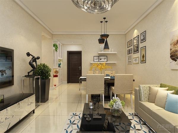 客厅没有做电视背景墙,只用电视柜做摆件装饰,这样节省了成本,合理利用了空间,增加实用性。沙发背景墙,用挂画和墙纸组合做装饰,使空间更明亮,色调统一,给人一种温馨视觉感受