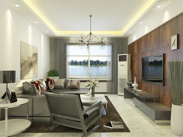 客餐厅地面通铺白色地砖,电视背景墙采用木地板上墙的装饰突出现代感。墙面刷白色乳胶漆