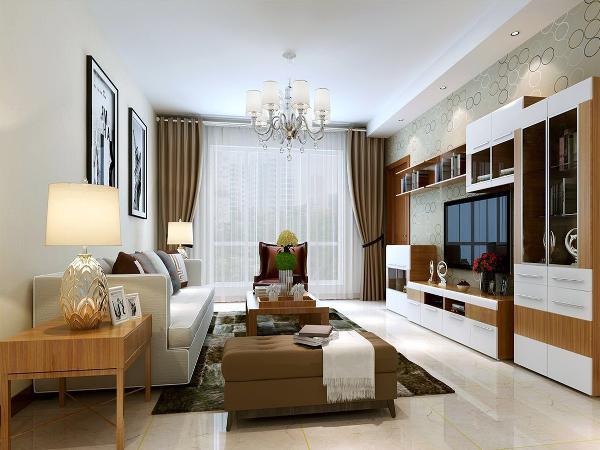 客厅:纯净的白色石膏吊顶搭配简洁水晶吊坠的灯具,米白色的方形地砖显得整个房间宽敞明亮,干净利落。原木白漆面的电视组合书柜使得整体的空间是简洁明了,自然纯净。
