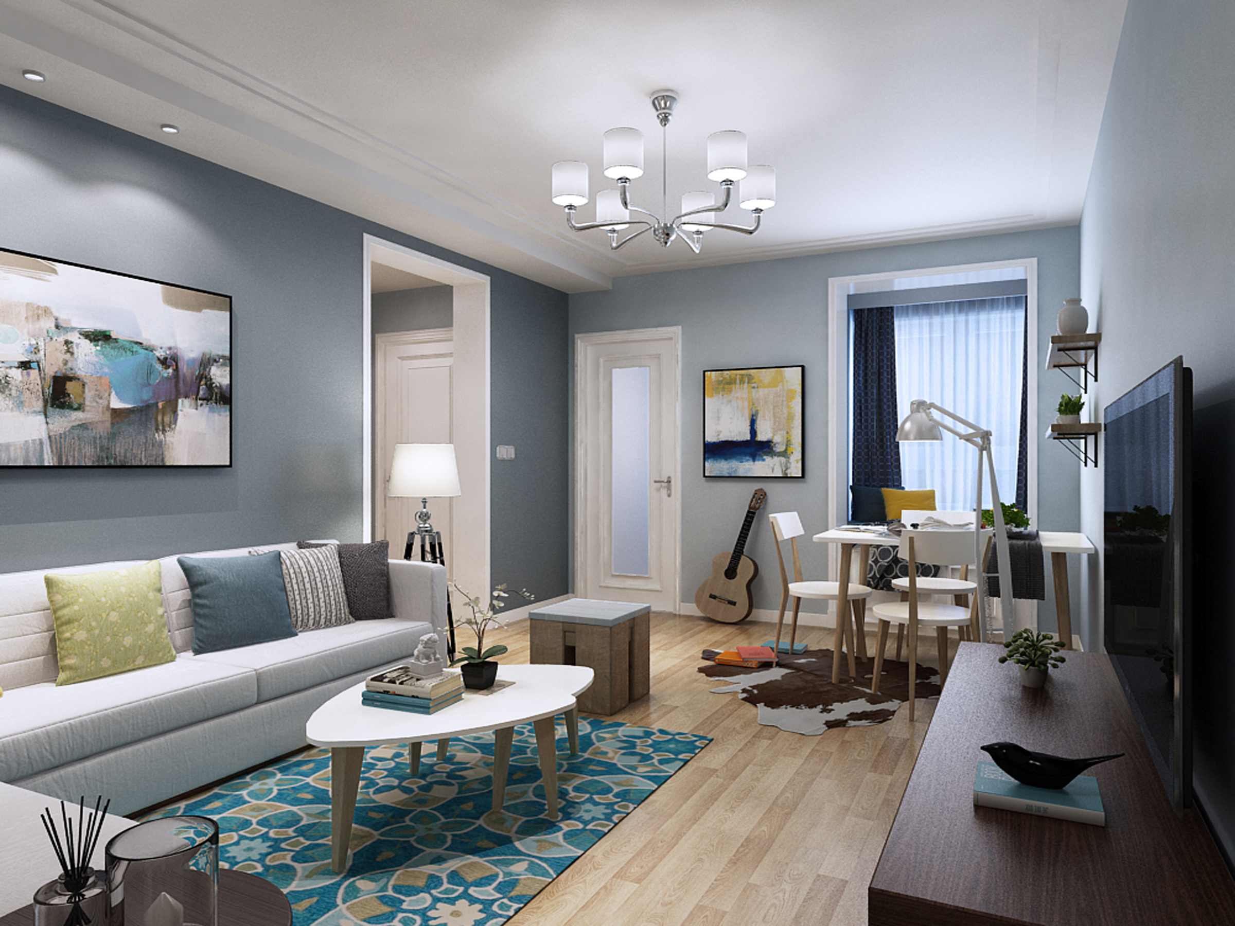 客厅:采用乳白色跌级吊顶搭配以白色金属支架吊灯,浅色木质地板配以