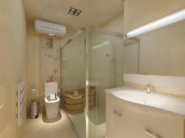 卫生间原结构空间不是很大,通过改造我们做了干湿分区,在满足客户对功能的基本需求的情况下,以暖色的墙砖为基调,配上白色的卫浴,给人以简洁明快的感觉。