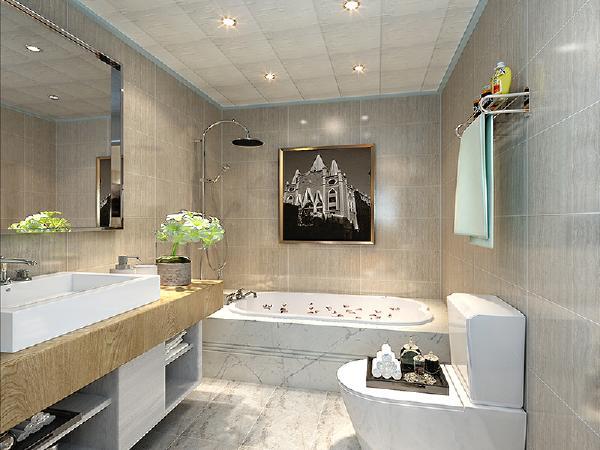 主卫生间:卫生间主人要求明亮干净,所以选用的素色墙砖。和白色的浴缸,看上去干净整洁。主卫没有过多的修饰,主要是以使用为中心展开设计的。