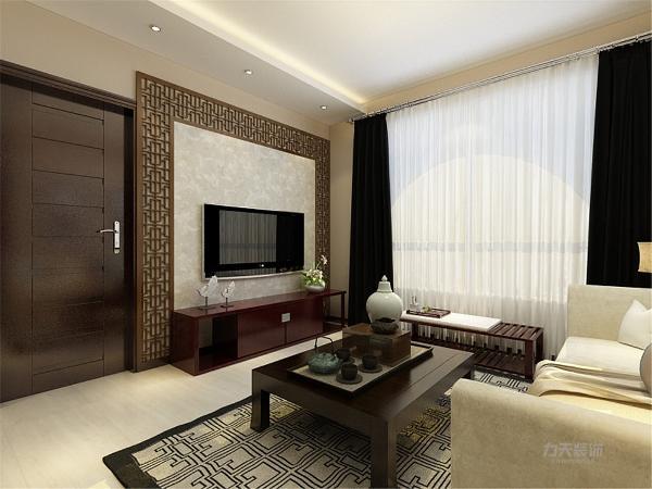 客厅的茶几、电视柜都是采用漆木家具的样子凸显了中式风格,电视背景墙也有一个中式的背景板的设置,处处体现了中式风格
