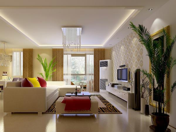 客厅采用了深啡网波打线绕圈白色瓷砖满铺,使整个空间功能区划分明确,白色的沙发搭配黑色的茶几是一个经典的颜色对比,整体的柜子采用白色系,让空间看起来更加干净;