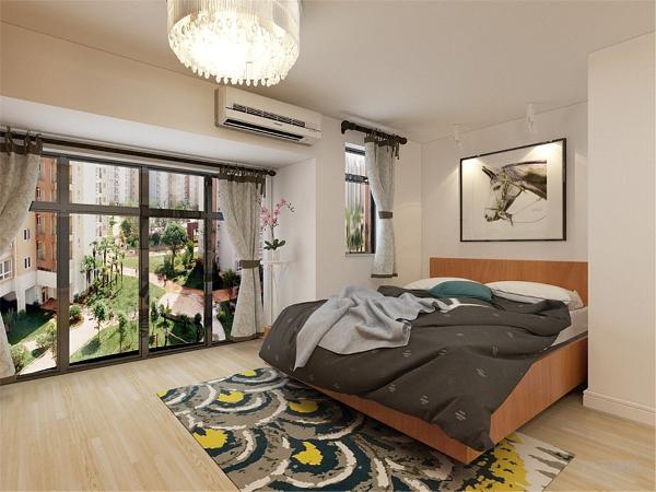 上楼的左边为休闲位置,对面是花架,开放式的卧室,床同样采用板式的材质,对面的衣柜增加储物功能。