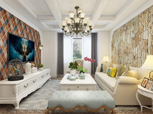 田园风格的装修设计通常使用一些自然的材质来营造室内空间的乡村自然风情。沙发背景墙采用彩色木质和主卧采用小菊花壁纸,营造一片清雅。小碎花是田园风格的典型代表,主卧的墙纸的碎菊花给人一种回归大自然的放松。
