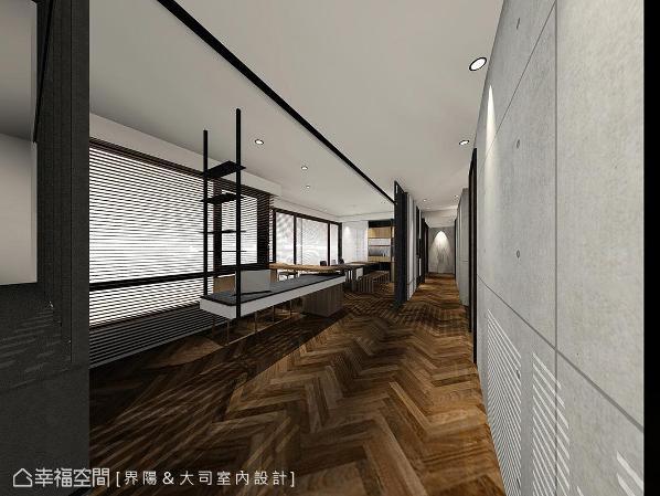 清水模本身的特质,加上洗墙灯投映的光影效果,更添质朴宁静氛围。 (此为3D合成示意图)