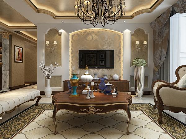 电视背景墙和沙发背景墙都是采用的石膏板加石膏线的组合造型,电视背景墙中间的金色反光大马士革壁纸很好的表现了欧式风格的特点,客厅顶面的造型采用的是内圈金线,顶面贴金箔,透露出奢华的气息。