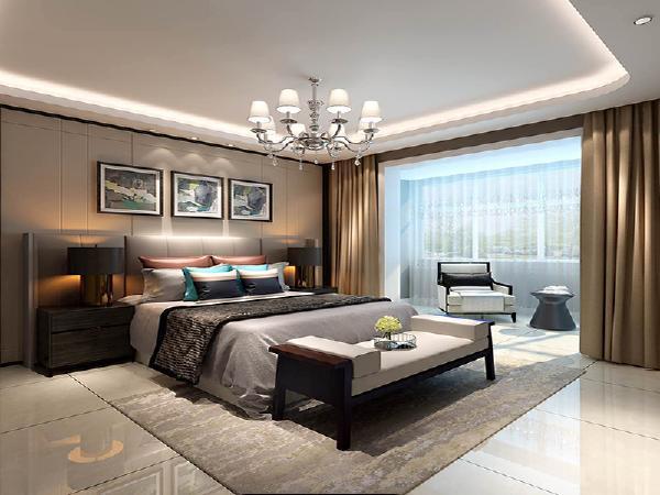 卧室也是简洁干练的风格,床头用浅米色的硬包来装饰,与同样米色调的墙面做出层次上的区分,石膏板弧形灯池吊顶又让整个卧室显得柔和,更加便于业主进入休息的状态。