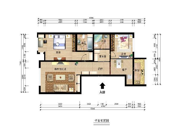 在结构上,通过实地测量,发现结构上有一些不合理的地方,通过设计手段对结构进行了重新规划,把正对着门厅位置空间设计成大的更衣室,这样更加增大储物空间,使功能更合理。