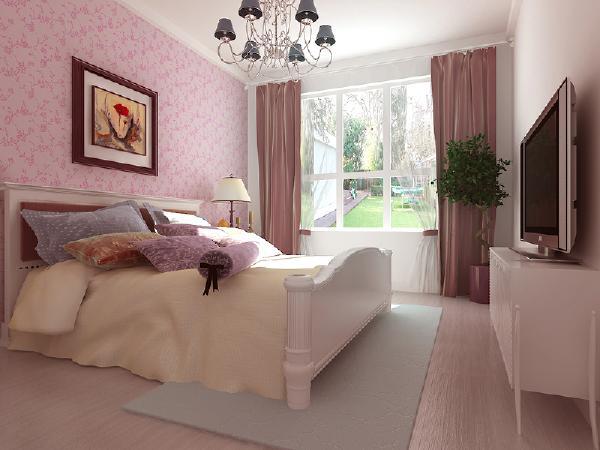 主卧室的空间比较大,在设计上会注重的是舒适感和功能性,做了一组通顶衣柜,增多了收纳空间,阳台位置则设计了一组书柜,闲暇之余可以看看书,欣赏窗外风景。