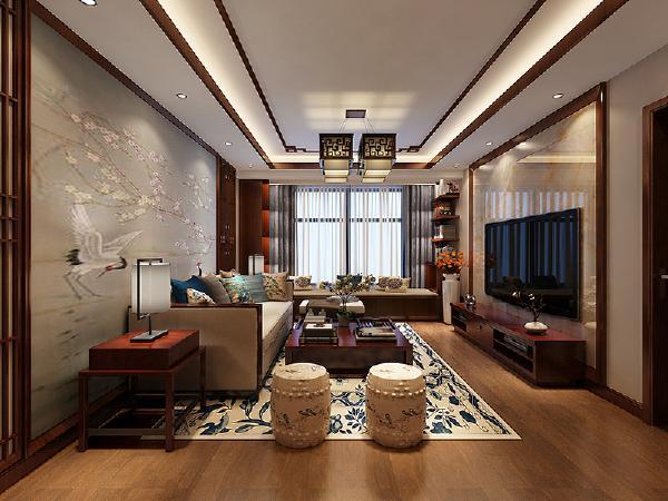 客厅部分的装饰主要以原木材质和现代的音符相融合,达到既有文化内涵又有完美的舒适度,电视背景墙与沙发背景墙的对比呼应、电视柜和沙发等家具无不体现出中式风格与现代风格的完美融合。