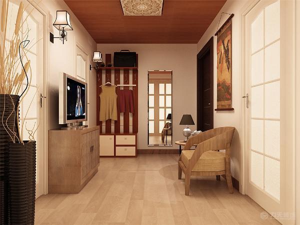 在客厅中只是几件简单的必要的家具,电视柜,沙发椅,小几,这对独居者足以。