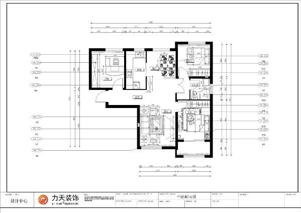 本户型为金地艺境两室两厅一厨一卫97.61平方米的户型,首先,从入户门进入,左手边映入眼帘的为餐厅和过道的隔断,以及通体的木质置物柜,暖黄家具的搭配为整个空间增加了生机感,与餐厅相邻的是厨房