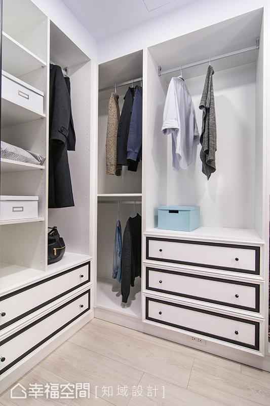 知域设计团队为两人规划一间独立更衣室,其上层开放式的设计,让取衣方便的同时也能保持空气流通