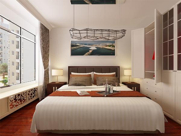 床头背景墙是卧室的视觉中心,它的设计以简洁,实用为原则,可采用挂装饰画,贴墙纸和贴饰面板等装饰手法,梳妆。