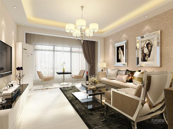 本案的客餐厅我们用白色的柜子加上墙面上的装饰物,整体背景墙简单大气,然后沙发是布艺的沙发,沙发背景用壁纸加上挂画来做的,整体效果,简单大气