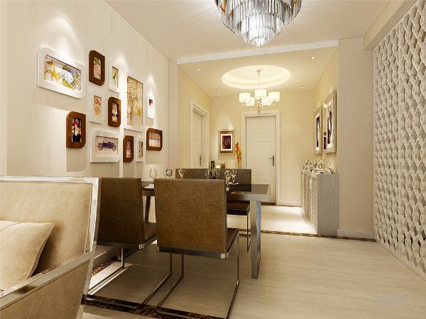 餐厅我们用壁纸和挂画来着装饰,然后就是我们本案的亮点,本案的客餐厅我们用白色的柜子加上墙面上的装饰物,整体背景墙简单大气