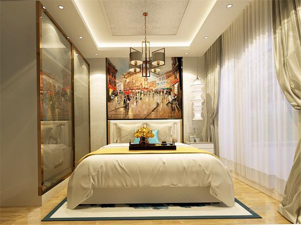 现代装饰画装饰更突显空间的活跃感,吊顶上的灯是房间的亮点,非常时尚大方,简约却具有现代风情,为整个家居增添了韵味。