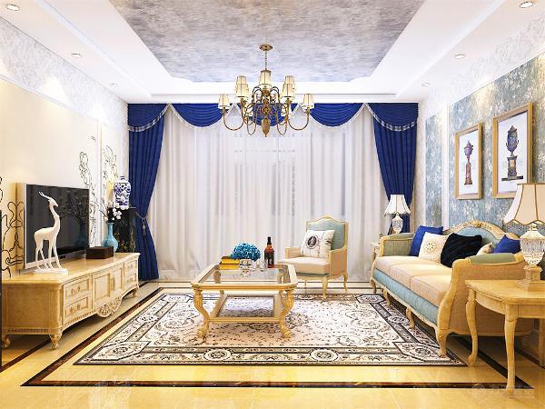 客厅采用三加一的沙发,使空间显得不拥挤,沙发背景墙和电视背景墙都采用欧式经典花纹,电视柜和茶几具有欧式特色的纹理,既美观又舒适。