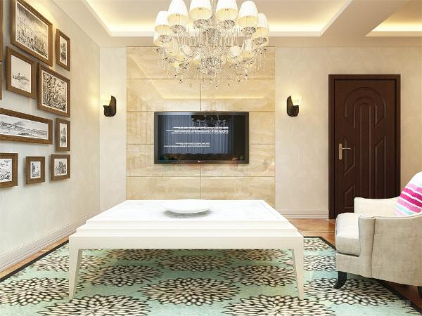 入户为客餐厅右手边为客厅,三座沙发加一个单沙发为业主的家人提供舒适的居家环境,电视挂式为客厅提供更多的空间,单独为业主家设计的照片墙。