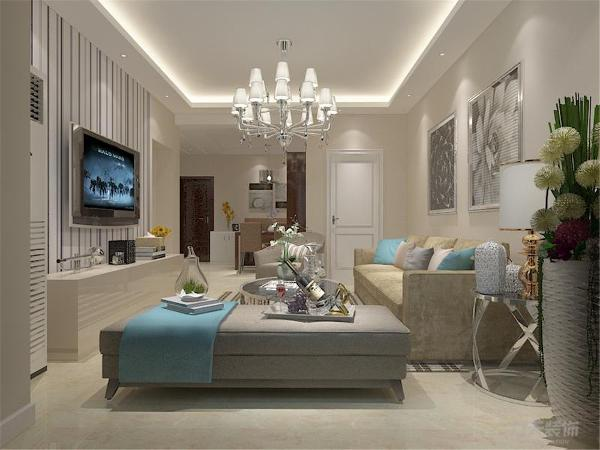 客厅的沙发背景墙上使用了简单的照片墙的形式设计。在电视背景墙上使用了条纹状的壁纸进行设计,让整个户型变得更加明朗,顶面使用了直线回字形吊顶加灯带的方式