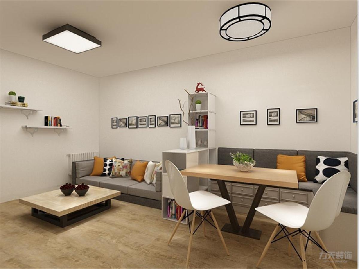 实木的茶几和餐桌与电视柜相结合,储物格子柜将客厅分为两个区域,沙发
