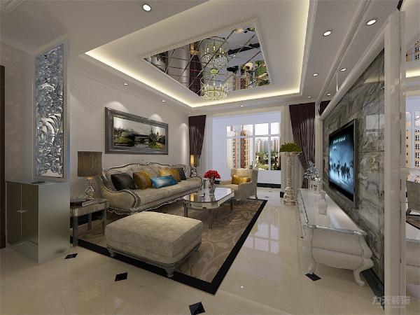 客厅电视背景墙采用平线,配合大理石和境面更能体现高贵、大气、上档次,与此同时,本案采用暖色的灯光,使人居住更舒适、更温馨。
