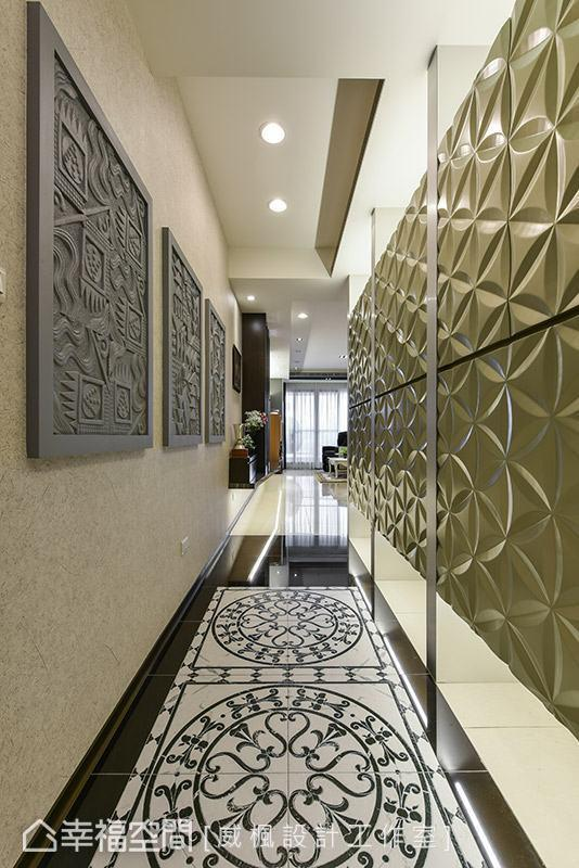 威枫设计特别规划完整大器的迎宾廊道意象,藉由材质与造型的变化,展演精采的视觉飨宴。