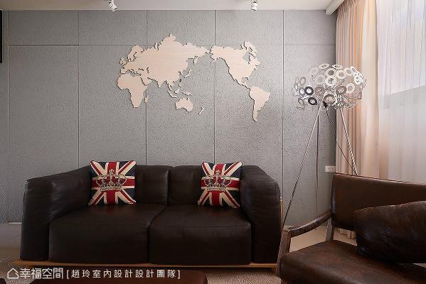 拿取剩余的实木皮板材料,制作世界地图壁饰,让空间富饶趣味性。