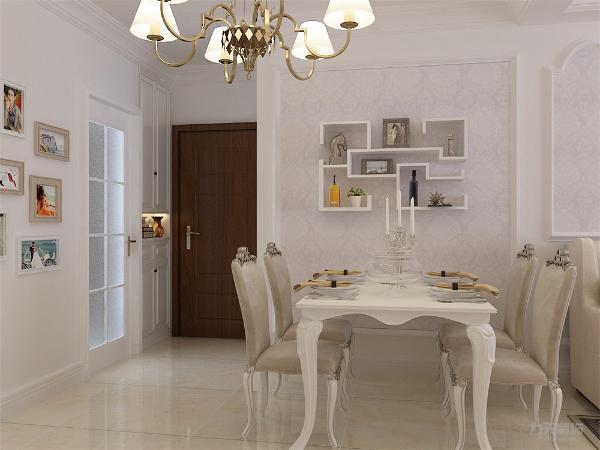 客餐厅家具也以白色,乳白色为主,墙面、顶面、家具相呼应。最为显眼的是地毯,复古花纹,酒红淡黄相结合,给人一种异国风情。