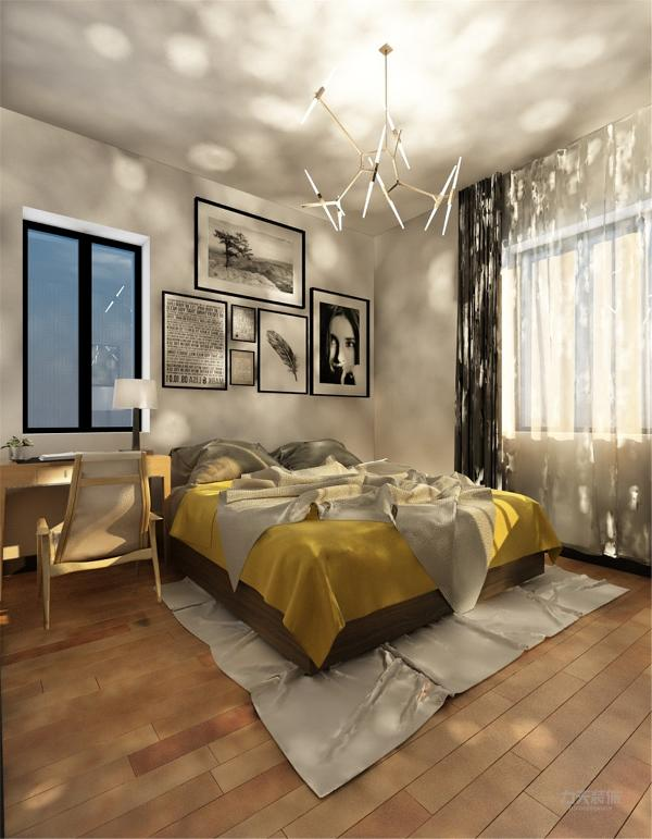 卧室整体比较温馨,由于床前放桌子比较拥挤,我设计在墙上镶一个小台面,放装饰品。