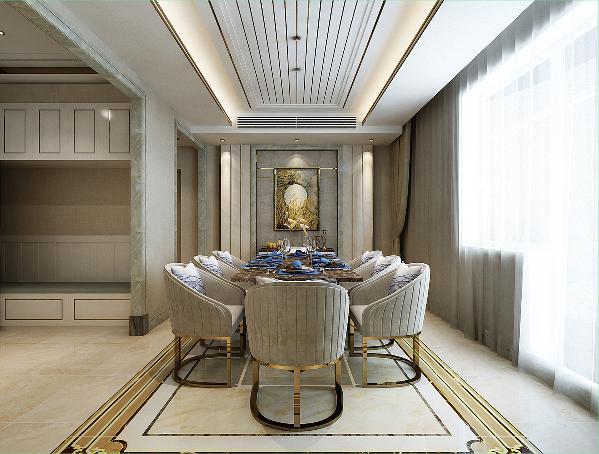 为了使室内更有整体感,餐厅与客厅、会客厅地面都是花线造型。业主家经常有朋友来做客,所以除了餐厅,在原来的客厅中增加了一个会客厅区域。