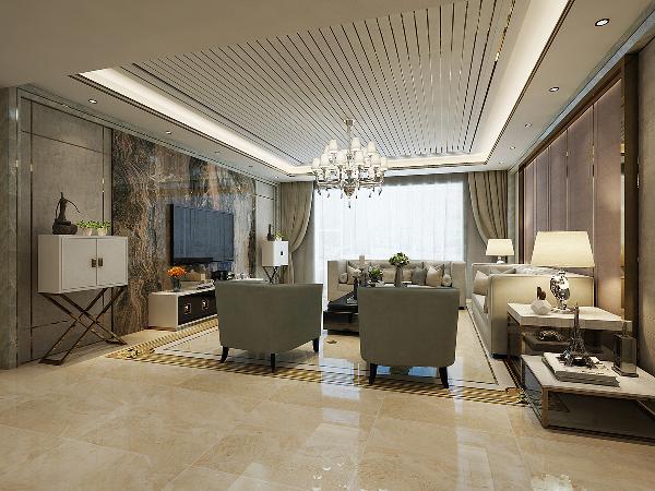 客厅大部分造型都采用金属条装饰,从设计造型及装修材料上可以体现出浓浓的现代气息,整体时尚、奢华。