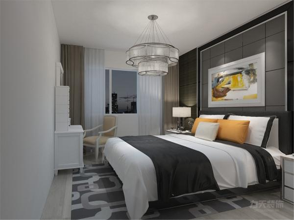 在卧室的设计中,同样我们采用了木色的木地板与主卧背景墙相结合,白色的化妆台配搭白色系的双人床使偏冷色系的空间有了少许温暖和亲切,地板采用的是实木复合地板具有防滑的功效