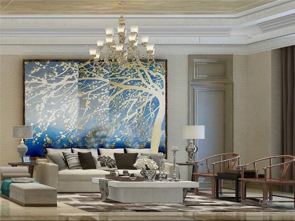 电视背景墙的装饰上,我们采用了大理石圈边,表现了一种清新气息感,沙发采用简约造型,加黑色皮质靠垫让整个空间出现了亮点。