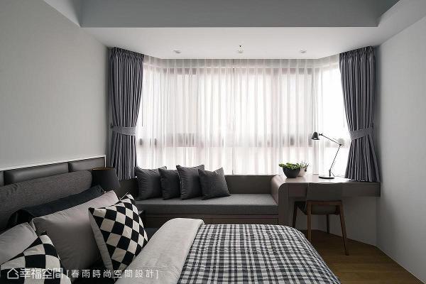 运用一体成形的设计,将卧榻与书桌相结合,把凸窗空间做完美的利用。