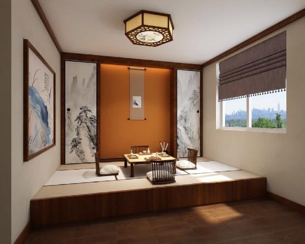 书房做了一个榻榻米,木色选用了与地板同样的颜色达到空间色彩一致。侧面做出了两个储物柜子,柜板用水墨画装饰增加储物功能,中间留白处使用了橘红色的壁纸让整空间感觉温暖又有色彩上的跳跃增加空间的灵动性。
